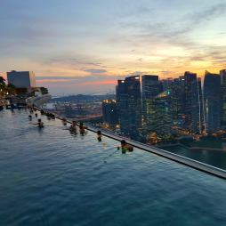 Marina Bay Sands Infinity pool and city view