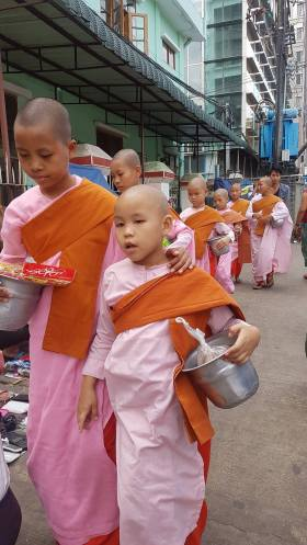 Yong Nuns walking the streets of Yangon