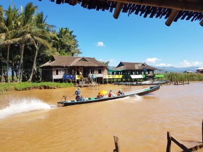 the main road at an Inle lake willage